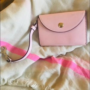 J. Crew pink leather pursette, dc or $ fits 4x3